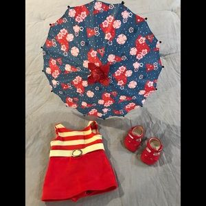 American Girl Kit's 1934 Swimsuit,Shoes,& Umbrella